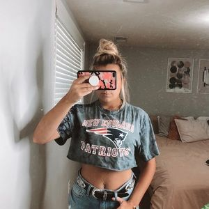 Upcycled New England Patriots Cropped Tee